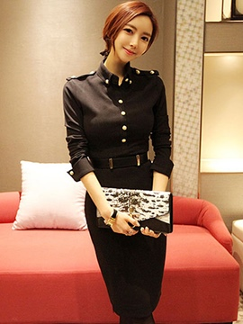 Ericdress Plain Belt Long Sleeve Stand Collar Sheath Dress