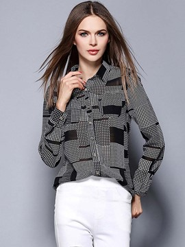 Ericdress Color Block Plaid Single-Breasted Loose Blouse