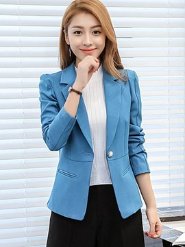 Ericdress Slim Solid Color Polo Formal Blazer