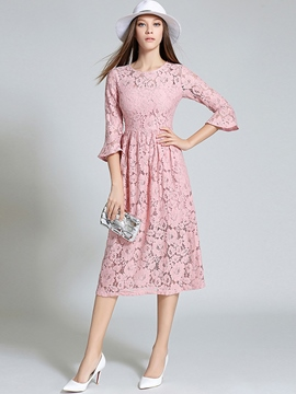 Ericdress Plain Three-Quarter Sleeve Lace Dress