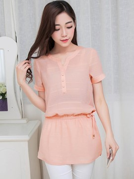 Ericdress Slim Solid Color Blouse
