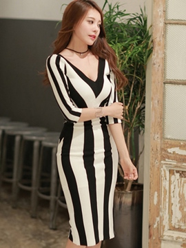 Ericdress Summer Half Sleeve V-Neck Stripe Bodycon Dress