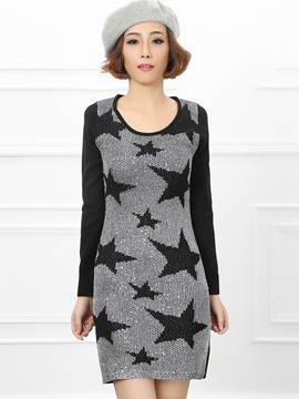 Ericdress Round Neck Star Pattern Sweater Dress