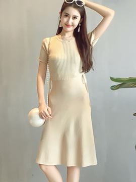 Ericdress Knit Patchwork Solid Color Sweater Dress