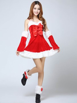 Ericdress Bowknot Spaghetti Strap Sexy Santa Cosplay Christmas Costume