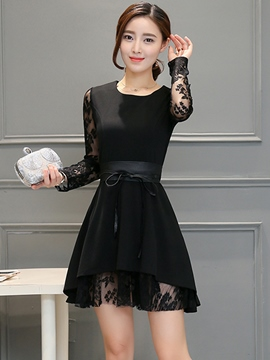 Ericdress Ladylike Lace Patchwork A-Line Casual Dress