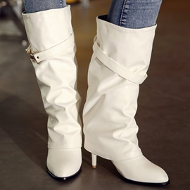 Ericdress Elegant PU Point Toe Knee High Boots