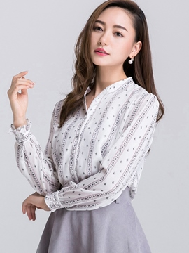 Ericdress Casual Loose Stripped Polka Dots Blouse