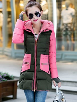 Ericdress Color Block Pocket Slim Plus Size Coat