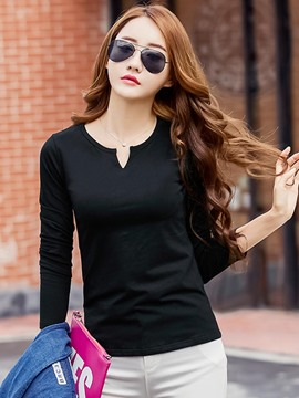 Ericdress Solid Color Slim Casual T-Shirt