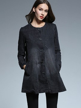 Ericdress Slim Single-Breasted Trench Coat
