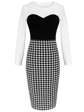 Ericdress Color Block Houndstooth Patchwork Sheath Dress