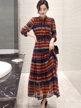 Ericdress Stripe Lace-Up Patchwork Maxi Dress