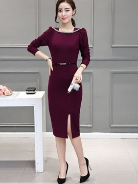 Ericdress Ladylike Solid Color Long Sleeve Round Neck Bodycon Dress