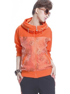 Ericdress Solid Color Printed Casual Cool Hoodie
