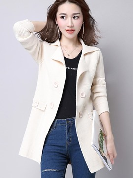 Ericdress Solid Color Button Polo Knitwear