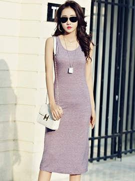 Ericdress Summer Sleeveless Solid Color Ankle-Length Casual Dress