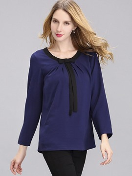 Ericdress Loose Color Block Pleated Blouse