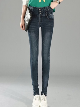 Ericdress Solid Color Slim Jeans