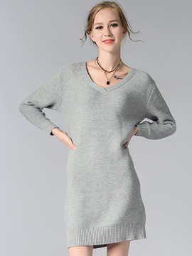 Ericdress Plain V-Neck A-Line Sweater Dress