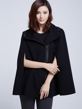 Ericdress Solid Color Asymmetric Zipper Cape
