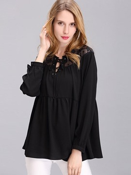 Ericdress Lace Patchwork Lace-Up Black Blouse