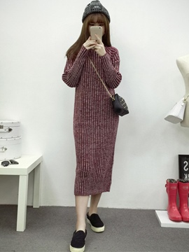 Ericdress Round Neck Long Sleeve Ankle Length Sweater Dress