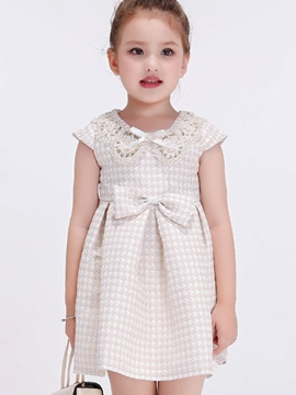 Ericdress Lace Hollow Bow Collar Pleated Girls Dresses