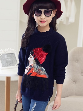 Ericdress Sequins Embroidery Printing tassel Patchwork Knitting Long Girls Top