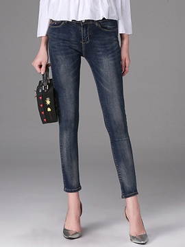 Ericdress Worn Nine Points Jeans