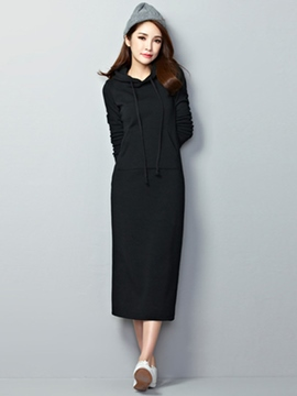 Ericdress Solid Color Hoodie Autumn Maxi Dress