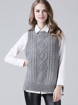 Ericdress Straight Solid Color Knitwear