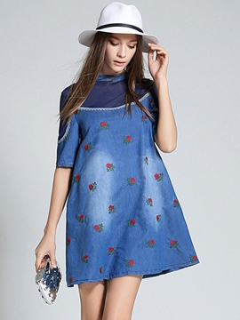 Ericdress Stand Collar Patchwork A-Line Denim Casual Dress