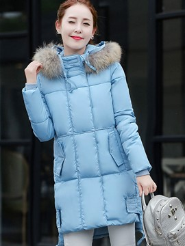Ericdress Straight Solid Color Thick Cotton Coat