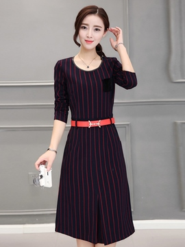 Ericdress Autumn Long Sleeve Stripe Casual Dress