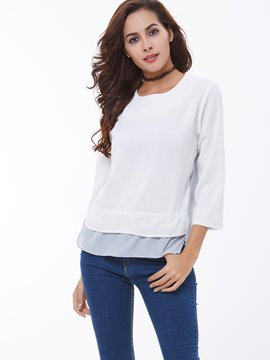 Ericdress Layer Hem Patchwork Plain T-Shirt
