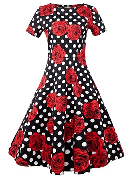 Ericdress Flower Print Polka Dots Round Neck Casual Dress
