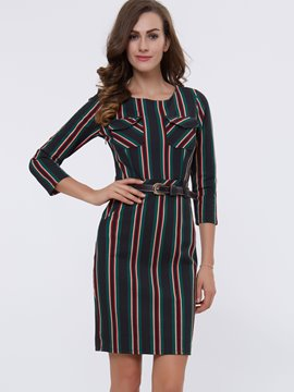 Ericdress Stripe Patchwork Split Sheath Dress