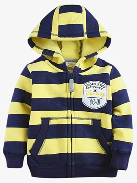 Ericdress Thick Stripes Hooded Zipper Boys Top