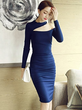 Ericdress Plain Pleated Cold Shoulder Sheath Dress