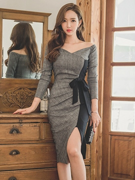 Ericdress Off-The-Shoulder V-Neck Long Sleeve Sexy Bodycon Dress