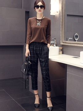Ericdress Casual Plaid Pants Suit