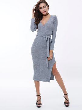 Ericdress Plain V-Neck Lace-Up Long Sleeve Sheath Dress