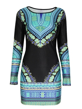 Ericdress Print Long Sleeve Round Neck Bodycon Dress