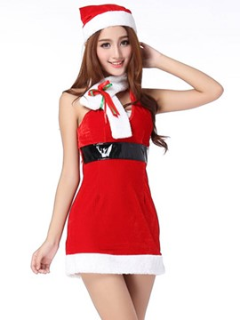 Ericdress Sleeveless Belt Patchwork Santa Cosplay Christmas Costume
