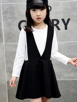 Ericdress Large V Suspender Black&White Two-Piece Girls Outfits