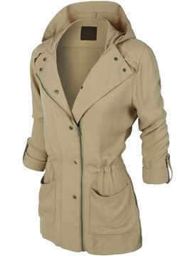 Ericdress Solid Color Slim Asymmetric Hooded Jacket