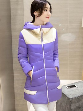 Ericdress Color Block Slim Hooded Cotton Coat