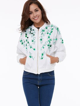 Ericdress Loose Printed Sequins Jacket