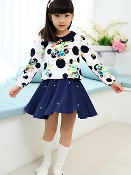Ericdress Peter Pan Collar Bead Patchwork Pleated Girls Dress